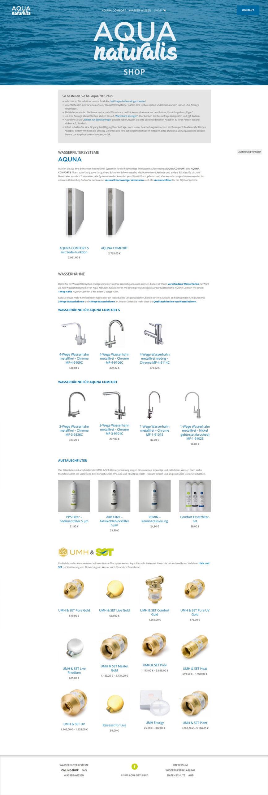 Coporate Identity und Webshop für AQUA NATURALIS FILTERTECHNIK